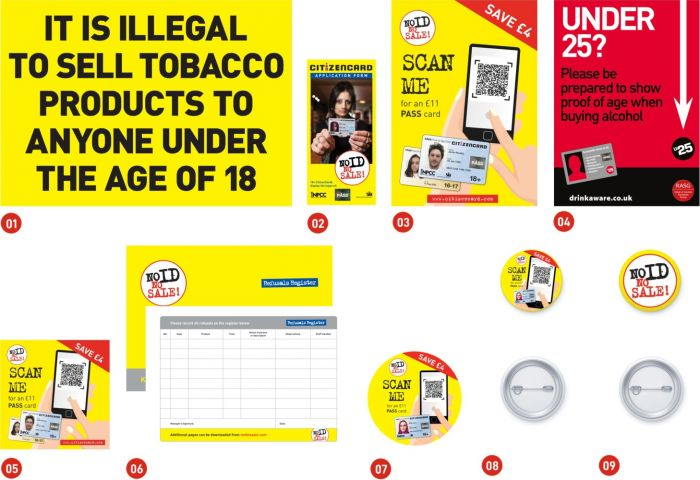 'No ID, No Sale!' retail pack items